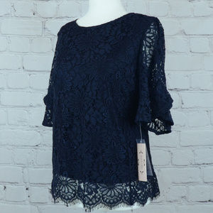 NWT NANETTE LEPORE Spring Fling Lace Blouse
